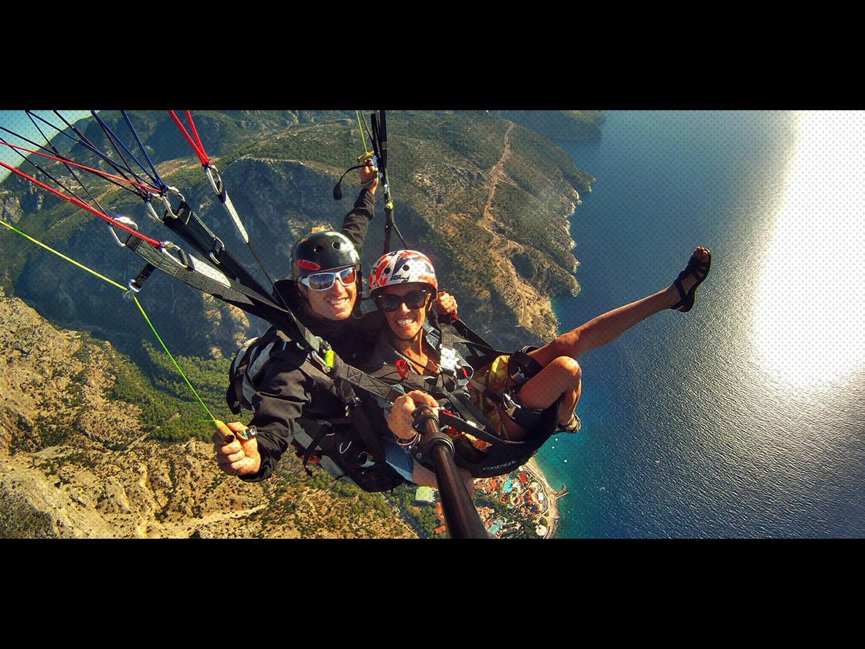 Полет с парапланер- тандем над Залива на пеперудите в Олудениз, Турция